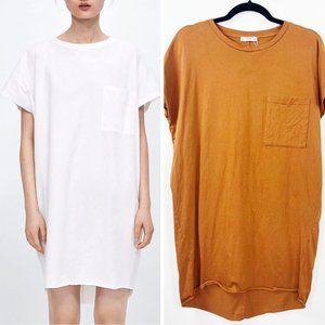 Zara S Dress Mustard Gold Crew Neck Short Sleeves